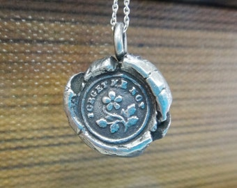 "Remember Me - Antique Wax Seal Pendant - ""Forget-Me-Not"" Victorian Wax Seal in Silver Bronze or Copper - Romantic Charm"