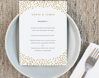 Printable Wedding Menu Template | INSTANT DOWNLOAD | Gold Dots | 5x7 | Editable Colors | Mac or PC | Word & Pages