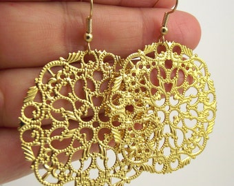 Large Round Gold Filigree Earrings, Gold Earrings, Gold Medallion Earrings