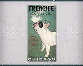 "Custom Text FRENCHIE French Bulldog Coffee + Tea Canvas Wll Art - Free Personalized Ready-to-Hang 1.5 "" Canvas - Signed"