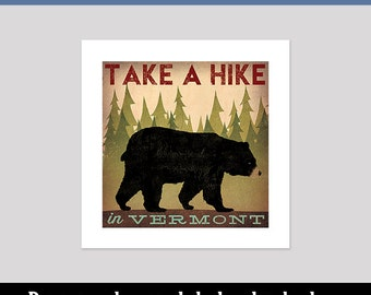 custom BLACK BEAR Take A Hike Baby Nursery Graphic Art Illustration Pigment Print Signed By Ryan Fowler Native Vermont