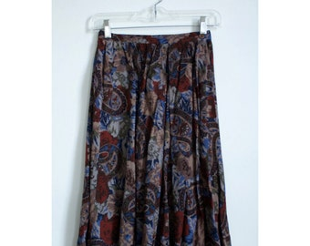 Vintage 70s paisley high waisted skirt size XS