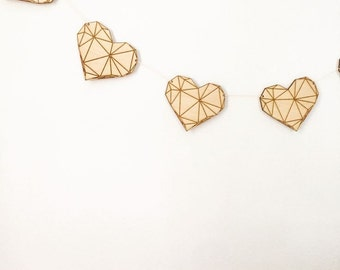 Wood Geometric Heart Garland