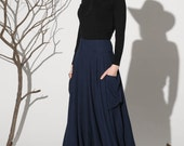 lagenlook clothing, navy blue skirt, maxi linen skirt, casual skirt with big pockets and fitted waist,pleated skirt, Custom made skirt 1157