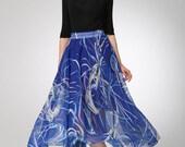 Blue chiffon skirt maxi skirt women prom skirt (1298)