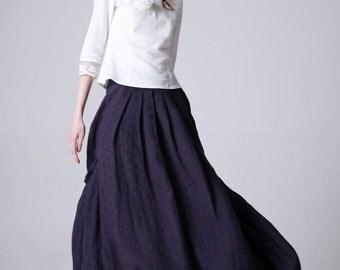 maxi skirt, elasitc wasit skirt, blue skirt,women skirt, pleated skirt, summer skirt, linen skirt, custom skirt, handmade skirt(1191)