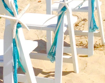 Beach Wedding - Starfish Chair Decoration with Cording and Ribbon - Choose Navy Blue, Turquoise or Sea Blue