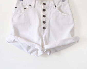 """White High Waisted Button Up Denim Jeans 25"""" Sz S"""