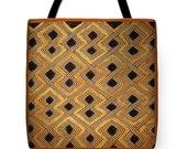 African Kuba PolyPoplin Tote Bag - SilkyPoly Throw Pillow Material - Tribal Decor -  African Tote Bag - Laptop/Book Bag - Grocery Tote Bag