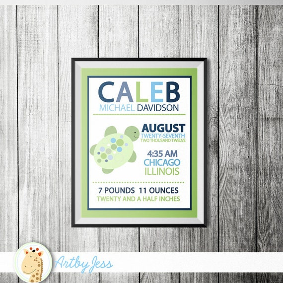 Sea Turtle Birth Announcement Print, Personalized Baby Gift (Design 14a)