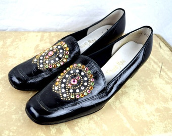 Vintage 1960s FUN Bejeweled Shoes Heels Pumps - By Frank More - Size 8 1/2 N