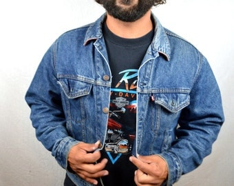Vintage Levis Denim Winter Jacket - Plaid Lining