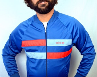 Vintage 80s Adidas Striped Track Jacket