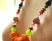 Bright Beaded Necklace - Vintage Beaded Necklace - Boho Style Necklace