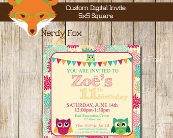 Custom Owl Birthday Invitation Digital