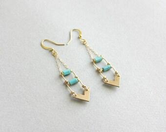 Chevron Earrings - southwestern jewelry, arrow earrings, geometric military jewelry, long dangle earrings, gold turquoise earrings