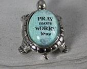 Pray More Worry Less Glass Turtle Figurine