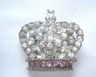 Rose Clear Rhinestone Crown  Pendant  Brooch Silver Tone
