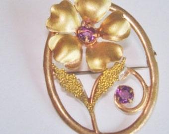 Vintage Jewelry Lavender  Rhinestone  Brooch