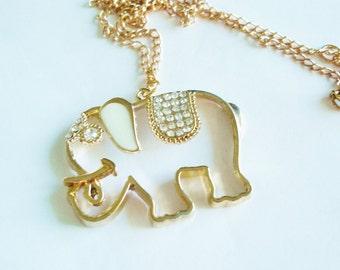 Elephant Gold  Rhinestone Pendant