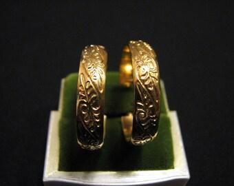 Vintage Gold Plated Floral Etched Leaf Hoop Pierced Earrings