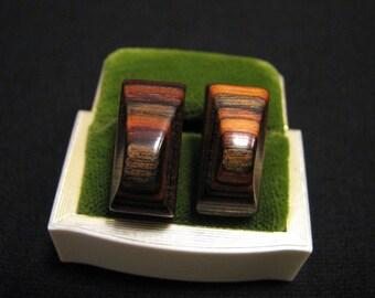 Vintage Modernist Geometric Wedge Tigerwood Clip Earrings