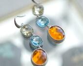 Long drop earrings, Multicolor earrings, Dangling earrings, Dangly earrings, orange, yellow, aquamarine, Silver earrings