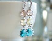 Multicolor earrings, Dangly earrings, Long drop earrings, Dangling earrings, Peach, yellow, aqua, Silver earrings