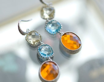 Long drop earrings, Multicolor earrings, Dangling earrings, Dangly earrings, orange, yellow, aquamarine, Silver earrings
