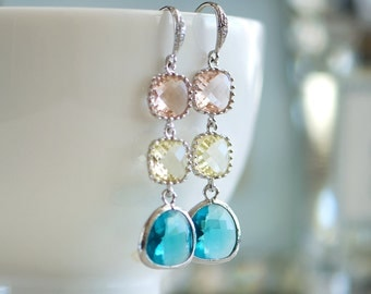 Multicolor earrings, Dangly earrings, Long drop earrings, Dangling earrings, Peach, yellow, aqua, Silver earrings