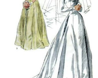 Vintage 1940s Pattern Wedding and Bridesmaid Dress Bertha Collar Sweeping Train Flutter Sleeve Sheer Neckline 1949 Simplicity 2724 Bust 32