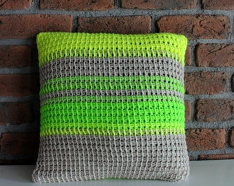 Hand Knitted Throw Pillow Cover striped pillow cover striped pillow case stripe throw pillow grey neon green crochet pillow decorative pillo