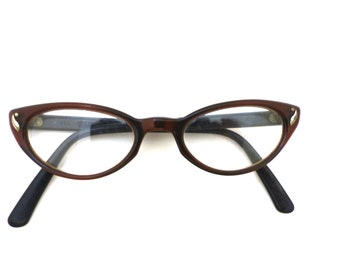 50's Bausch & Lomb Cat Eye Eyeglasses Sunglasses Women's Vintage 1950's Brown USA Comes with Case