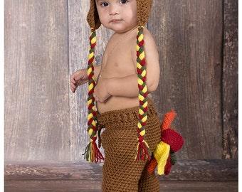 Newborn Photo Prop - Baby Turkey Outfit - Baby Turkey Hat - Thanksgiving Outfit - First Thanksgiving - Baby Thanksgiving - Turkey Hat