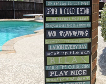 Pool Rules, Subway Art Signage | Size 15x36 -  Custom wood Sign