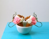 Ice Cream Earrings - Neapolitan Ice Cream Cones Food Jewelry - MADE TO ORDER Miniature Food Earrings