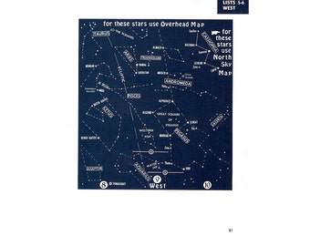 1972 STAR MAP map original vintage celestial astronomy chart - 81