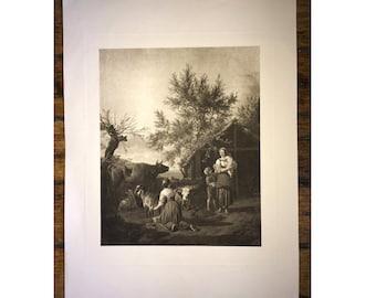 1800'S DAIRY FARM original antique farm animal print - steer cattle cows farming