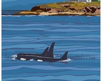 vintage travel poster San Juan Islands washington  state whales illustration digital download