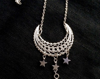 Silver Moon Stars Necklace Enchanted Gifts for Her by MinouBazaar