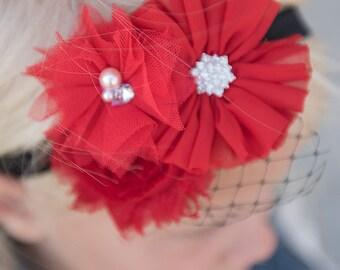 Red headband, black headband, birdcage veil headband, bridal headband, girl hair accesories, wedding hair accessory, baby shower gift