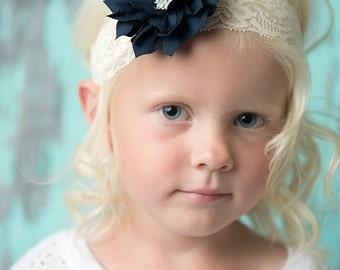 Ivory elastic headband, navy flower headband, flower girl hair accessories, bridal headband, girl birthday gift, bridesmaid headband, baby