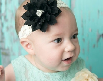 ivory elastic headband, black flower headband, toddler headband, baby headband, baby shower gift, teen headband, bridesmaid gift, girl gift