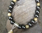 Hematite and Citrine Healing wrist mala for protection and joy