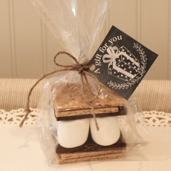 s'mores kits,  s'mores favor kits with chalkboard tag, gift, Baby shower invitation
