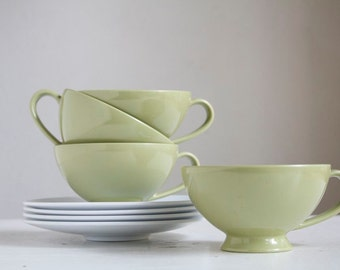 Cup and Saucer Set, Melamine, Texas Ware, Avocado Green and White, Midcentury Modern Housewarming Gift