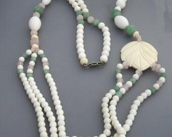 Beaded Quartz Necklace, Beach Necklace, Bone Necklace, Stone Necklace, Pastel Necklace, Green Necklace, Pink Necklace, White Necklace