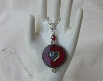 Deep, Deep Red Picasso Finish Heart Pendant Necklace