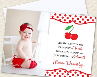 Cherry Party Photo Thank You Cards - Professionally printed *or* DIY printable