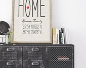 Personalized HOME Coordinates Housewarming Gift Art Print